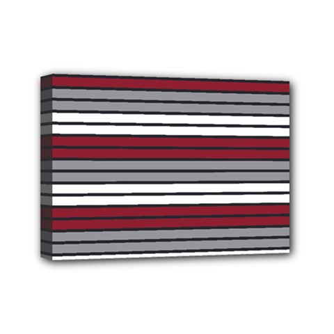 Fabric Line Red Grey White Wave Mini Canvas 7  x 5