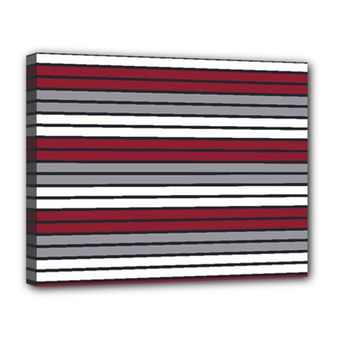 Fabric Line Red Grey White Wave Canvas 14  X 11