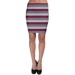 Fabric Line Red Grey White Wave Bodycon Skirt