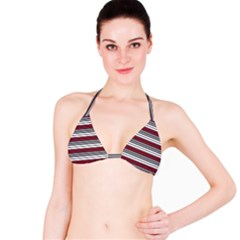 Fabric Line Red Grey White Wave Bikini Top