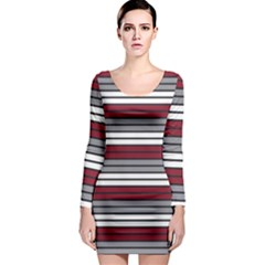 Fabric Line Red Grey White Wave Long Sleeve Bodycon Dress