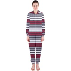 Fabric Line Red Grey White Wave Hooded Jumpsuit (Ladies)