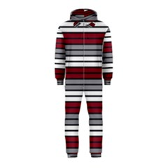 Fabric Line Red Grey White Wave Hooded Jumpsuit (Kids)