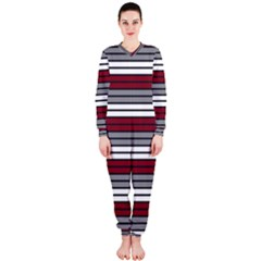Fabric Line Red Grey White Wave OnePiece Jumpsuit (Ladies)