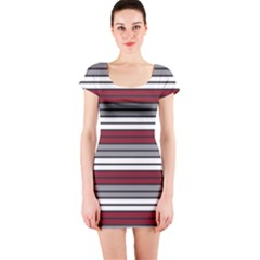 Fabric Line Red Grey White Wave Short Sleeve Bodycon Dress