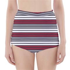 Fabric Line Red Grey White Wave High-Waisted Bikini Bottoms