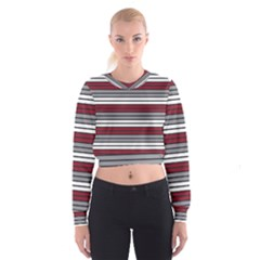 Fabric Line Red Grey White Wave Women s Cropped Sweatshirt