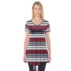 Fabric Line Red Grey White Wave Short Sleeve Tunic
