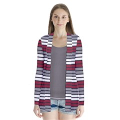 Fabric Line Red Grey White Wave Cardigans