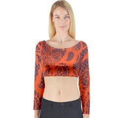 Enlarge Orange Purple Long Sleeve Crop Top
