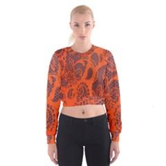 Enlarge Orange Purple Women s Cropped Sweatshirt
