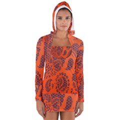 Enlarge Orange Purple Women s Long Sleeve Hooded T-shirt