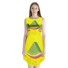 Fruit Melon Sweet Yellow Green White Red Sleeveless Chiffon Dress