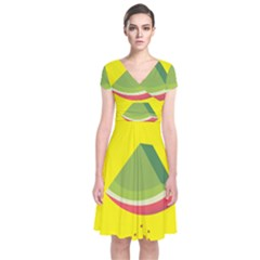 Fruit Melon Sweet Yellow Green White Red Short Sleeve Front Wrap Dress