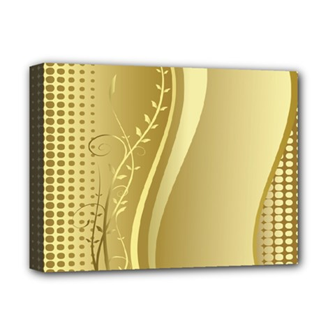 Golden Wave Floral Leaf Circle Deluxe Canvas 16  x 12