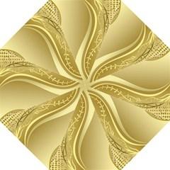 Golden Wave Floral Leaf Circle Golf Umbrellas