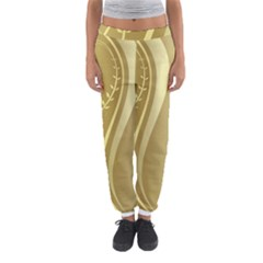 Golden Wave Floral Leaf Circle Women s Jogger Sweatpants