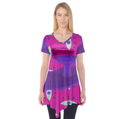 Eye Purple Pink Short Sleeve Tunic