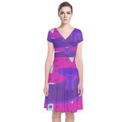 Eye Purple Pink Short Sleeve Front Wrap Dress