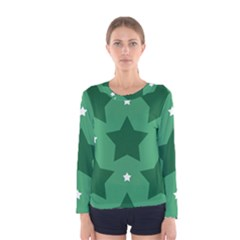 Green White Star Women s Long Sleeve Tee