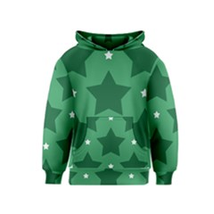 Green White Star Kids  Pullover Hoodie