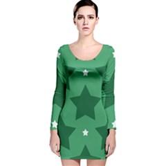 Green White Star Long Sleeve Velvet Bodycon Dress
