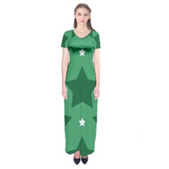 Green White Star Short Sleeve Maxi Dress