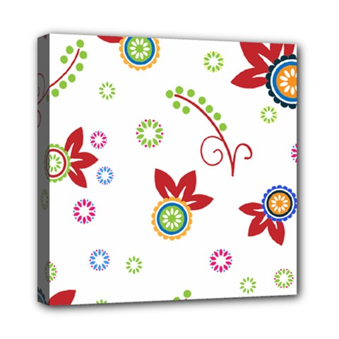 Floral Flower Rose Star Mini Canvas 8  x 8