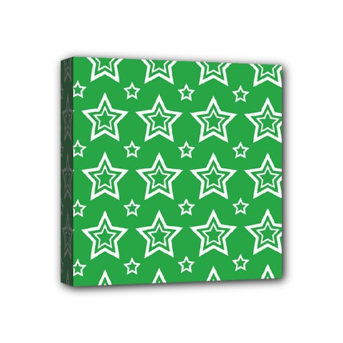 Green White Star Line Space Mini Canvas 4  x 4