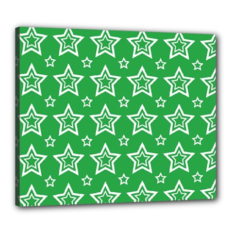 Green White Star Line Space Canvas 24  x 20