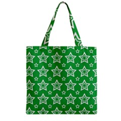 Green White Star Line Space Zipper Grocery Tote Bag