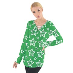 Green White Star Line Space Women s Tie Up Tee