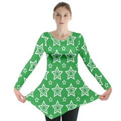 Green White Star Line Space Long Sleeve Tunic