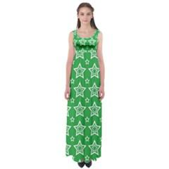 Green White Star Line Space Empire Waist Maxi Dress