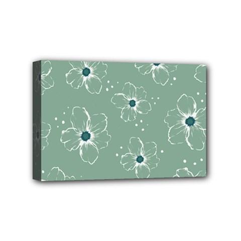 Floral Flower Rose Sunflower Grey Mini Canvas 6  x 4
