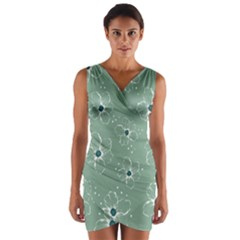 Floral Flower Rose Sunflower Grey Wrap Front Bodycon Dress