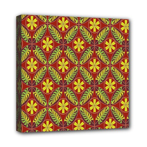Abstract Yellow Red Frame Flower Floral Mini Canvas 8  x 8