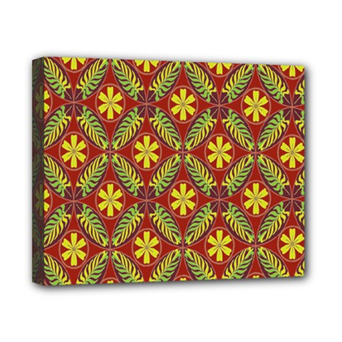 Abstract Yellow Red Frame Flower Floral Canvas 10  x 8