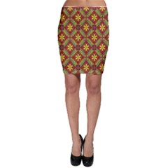 Abstract Yellow Red Frame Flower Floral Bodycon Skirt