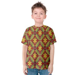Abstract Yellow Red Frame Flower Floral Kids  Cotton Tee