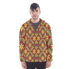 Abstract Yellow Red Frame Flower Floral Hooded Wind Breaker (Men)