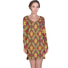 Abstract Yellow Red Frame Flower Floral Long Sleeve Nightdress