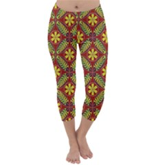 Abstract Yellow Red Frame Flower Floral Capri Winter Leggings