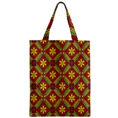 Abstract Yellow Red Frame Flower Floral Zipper Classic Tote Bag