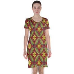 Abstract Yellow Red Frame Flower Floral Short Sleeve Nightdress