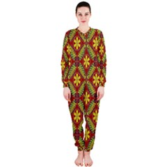 Abstract Yellow Red Frame Flower Floral OnePiece Jumpsuit (Ladies)
