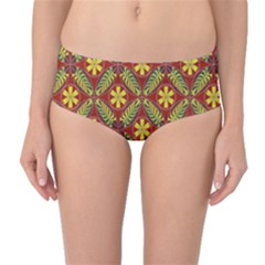Abstract Yellow Red Frame Flower Floral Mid-Waist Bikini Bottoms