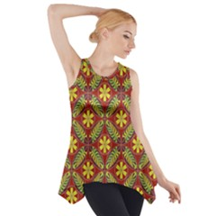 Abstract Yellow Red Frame Flower Floral Side Drop Tank Tunic