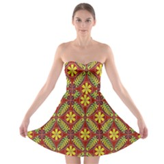 Abstract Yellow Red Frame Flower Floral Strapless Bra Top Dress