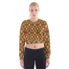 Abstract Yellow Red Frame Flower Floral Women s Cropped Sweatshirt